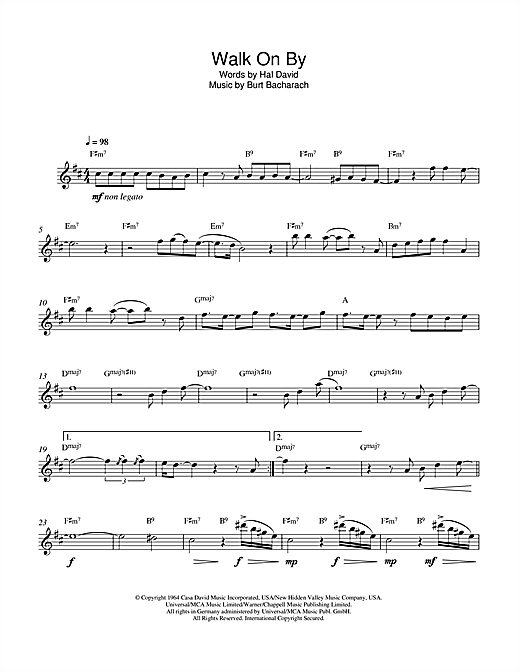 Walk On By Sheet Music