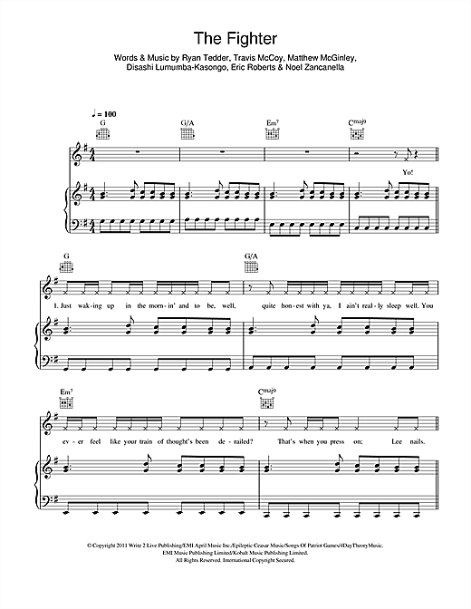 The Fighter (feat. Ryan Tedder) Sheet Music