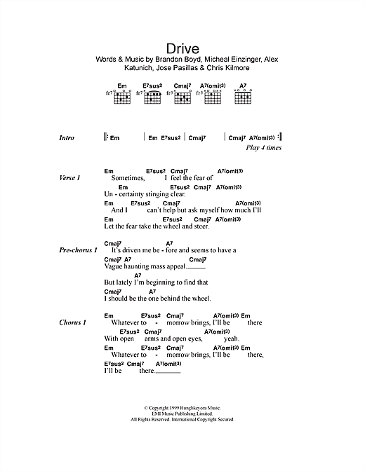 Drive sheet music by Incubus (Lyrics & Chords – 114585)