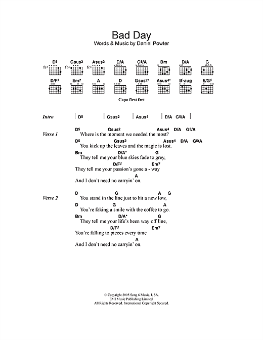 Bad Day Sheet Music