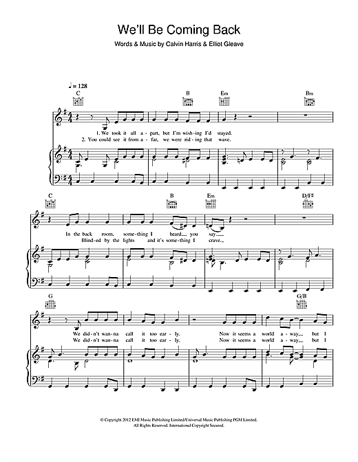 We'll Be Coming Back (feat. Example) Sheet Music