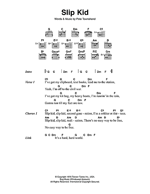 Slip Kid Sheet Music