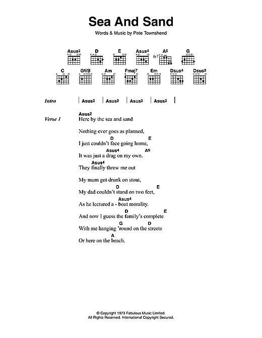 Sea And Sand (Guitar Chords/Lyrics)