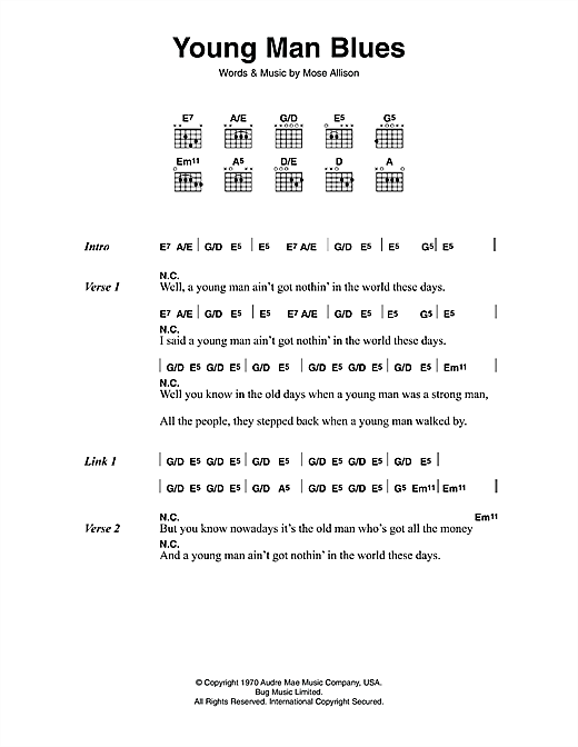 Young Man Blues (Guitar Chords/Lyrics)