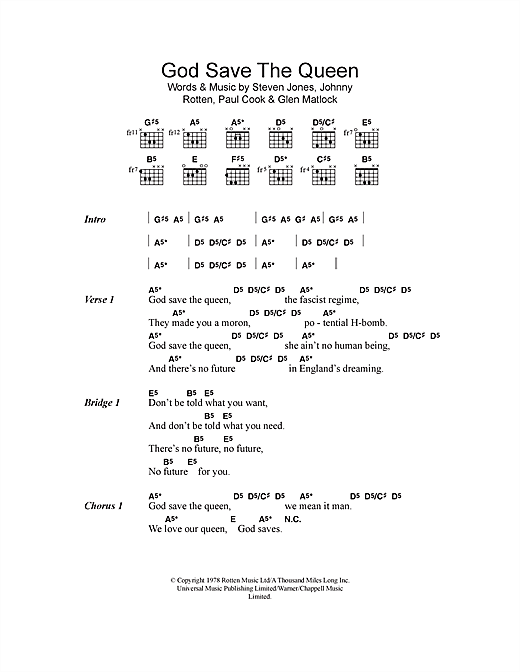 God Save The Queen (Guitar Chords/Lyrics)