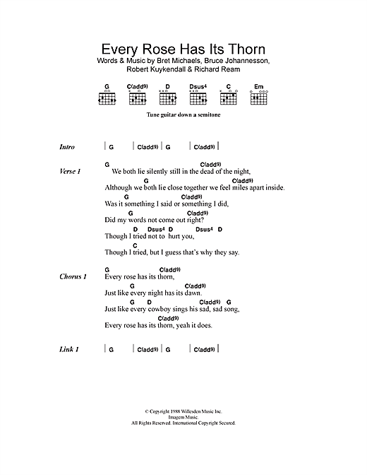 Every Rose Has Its Thorn Guitar Tab : every rose has its thorn sheet music by poison lyrics chords 114640 ~ Vivirlamusica.com Haus und Dekorationen