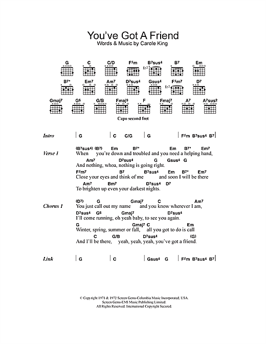 Youve Got A Friend Sheet Music By Carole King Lyrics Chords