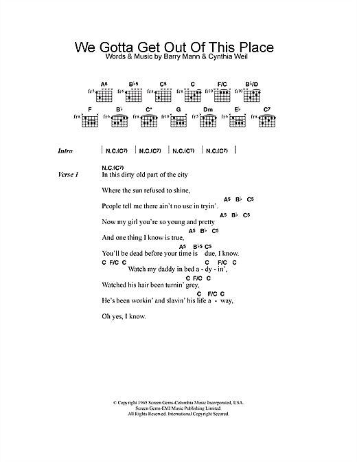 We Gotta Get Out Of This Place (Guitar Chords/Lyrics)
