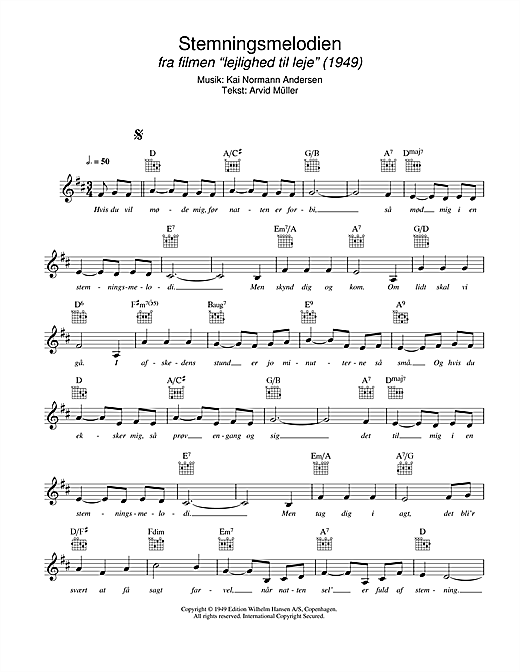 Stemningsmelodien Sheet Music