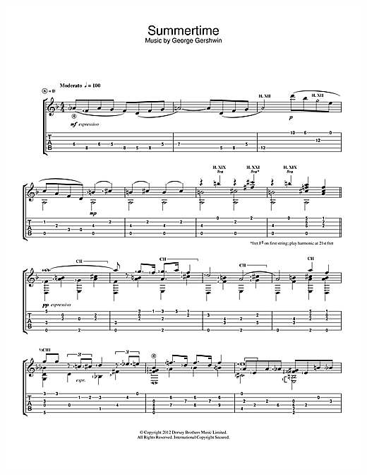 Tablature guitare Summertime de Jerry Willard - Guitare Classique