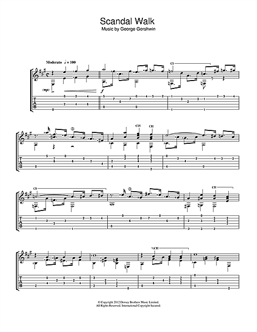 Tablature guitare Scandal Walk de Jerry Willard - Guitare