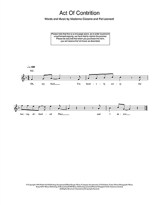 Act Of Contrition Sheet Music