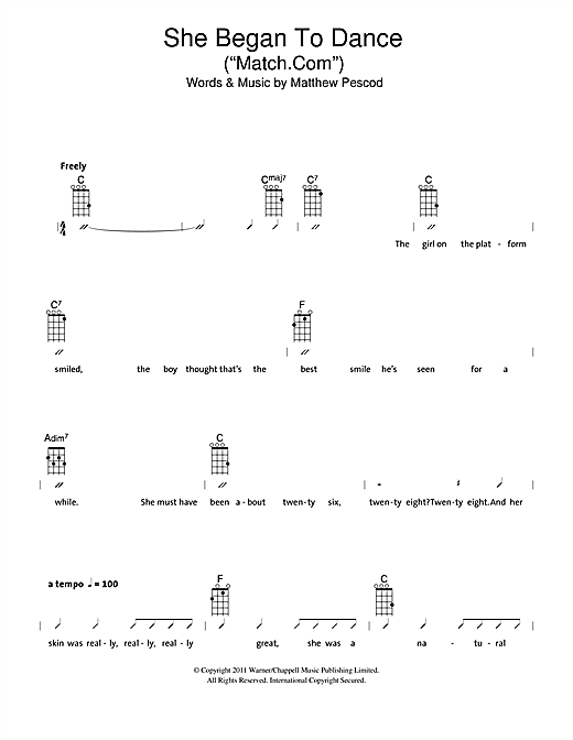 "Tablature guitare She Began To Dance (""Match.com"") de The Ukuleles - Ukulele (strumming patterns)"