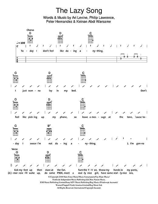 Ukulele ukulele chords lazy song easy : The Lazy Song sheet music by The Ukuleles (Ukulele with strumming ...