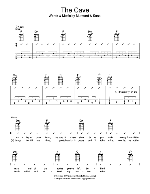 Tablature guitare The Cave de The Ukuleles - Ukulele (strumming patterns)