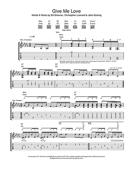 Give Me Love Sheet Music