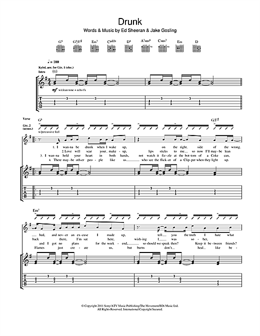 Tablature guitare Drunk de Ed Sheeran - Tablature Guitare