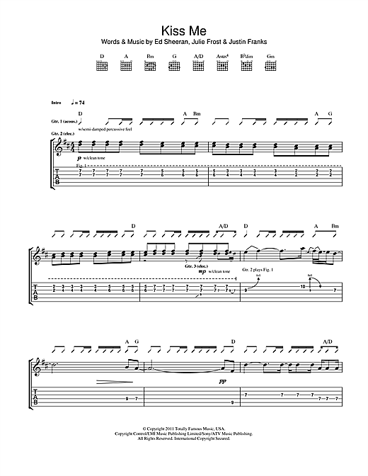 Kiss Me Guitar Tab by Ed Sheeran (Guitar Tab u2013 114728)