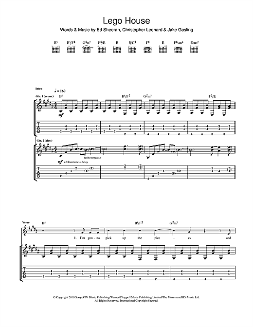 Lego House Guitar Tab By Ed Sheeran Guitar Tab 114729