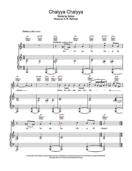Chaiyya Chaiyya Sheet Music