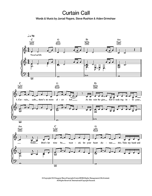 Curtain Call (Piano, Vocal & Guitar (Right-Hand Melody))