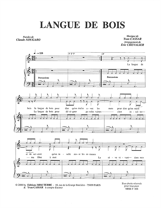 Partition piano Langue De Bois de Claude Nougaro - Piano Voix
