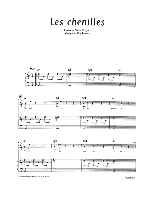 Les Chenilles (Piano & Vocal)
