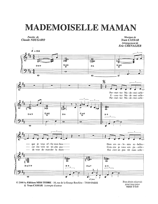 Mademoiselle Maman (Piano & Vocal)