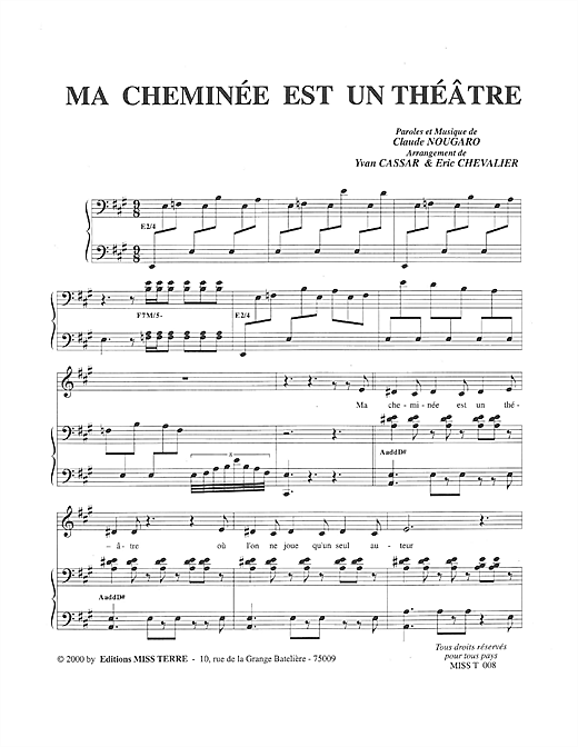 Partition piano Ma Cheminee Est Un Theatre de Claude Nougaro - Piano Voix
