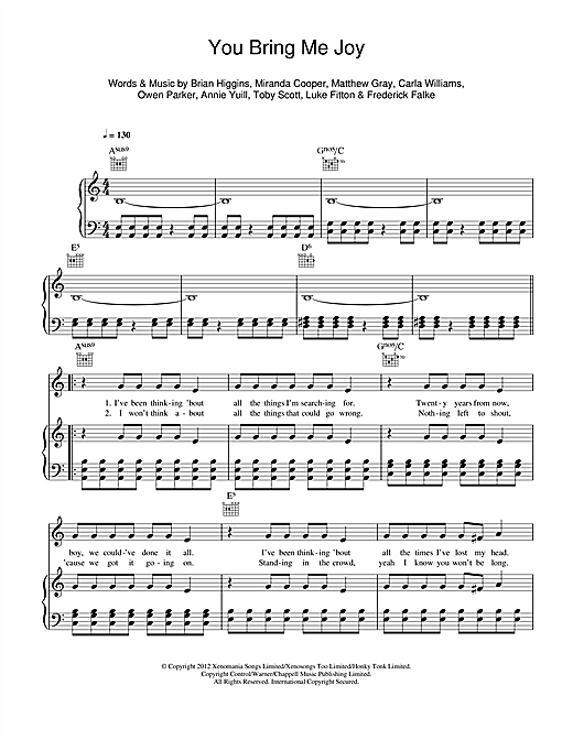 You Bring Me Joy Sheet Music