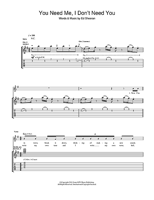 Tablature guitare You Need Me I Don't Need You de Ed Sheeran - Tablature Guitare