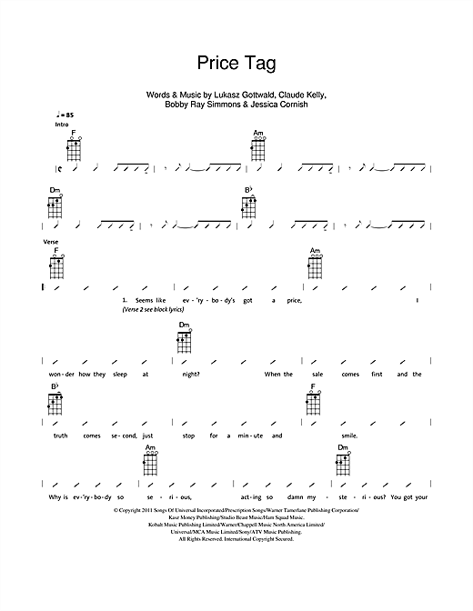Price Tag sheet music by The Ukuleles (Ukulele with strumming ...