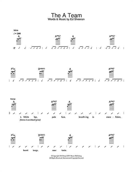 The A Team Sheet Music By The Ukuleles Ukulele With Strumming