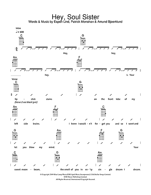 Hey, Soul Sister sheet music by The Ukuleles (Ukulele with strumming patterns u2013 114788)