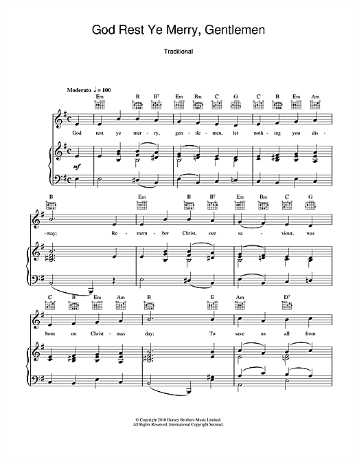 God Rest Ye Merry, Gentlemen Sheet Music