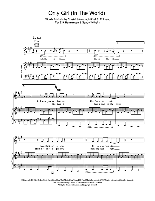 Only Girl (In The World) Sheet Music