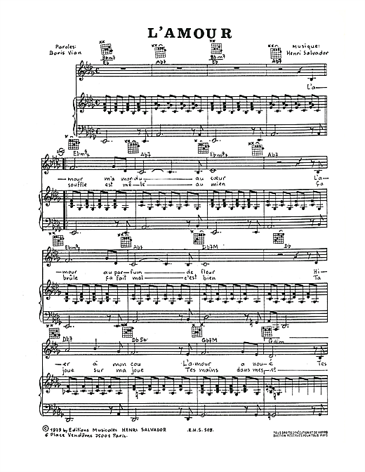 L'Amour Sheet Music