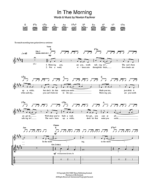Tablature guitare In The Morning de Newton Faulkner - Tablature Guitare