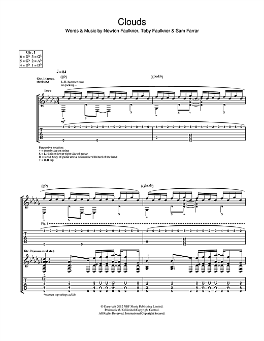 Tablature guitare Clouds de Newton Faulkner - Tablature Guitare