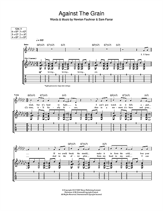 Against The Grain Sheet Music