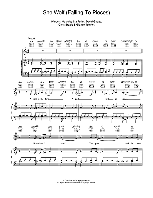 She Wolf (Falling To Pieces) (feat. Sia) Sheet Music