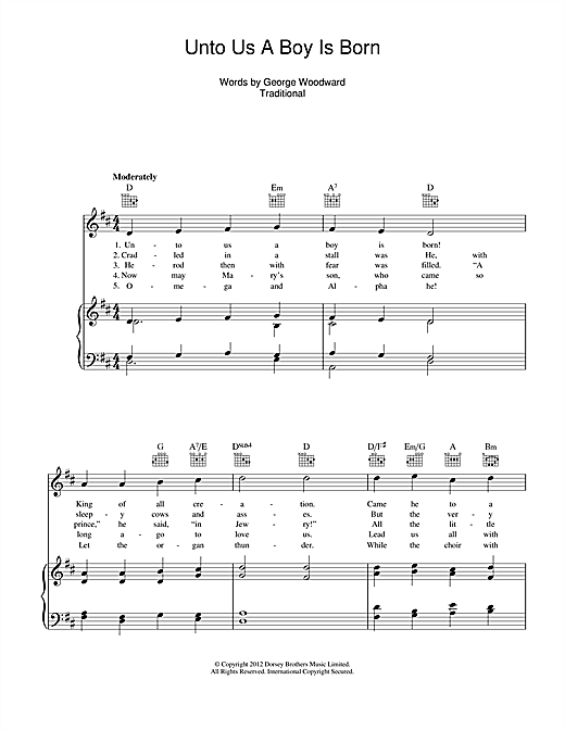 Unto Us A Boy Is Born Sheet Music