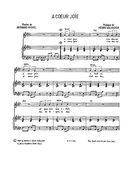 A Coeur Joie Sheet Music