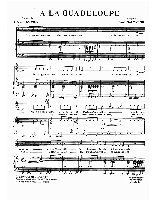 A La Guadeloupe Sheet Music