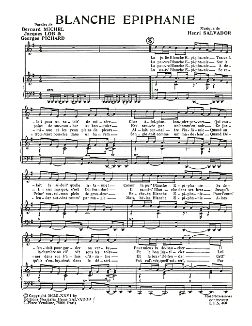 Blanche Epiphanie Sheet Music