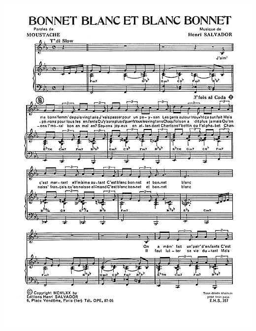 Bonnet Blanc Et Blanc Bonnet Sheet Music