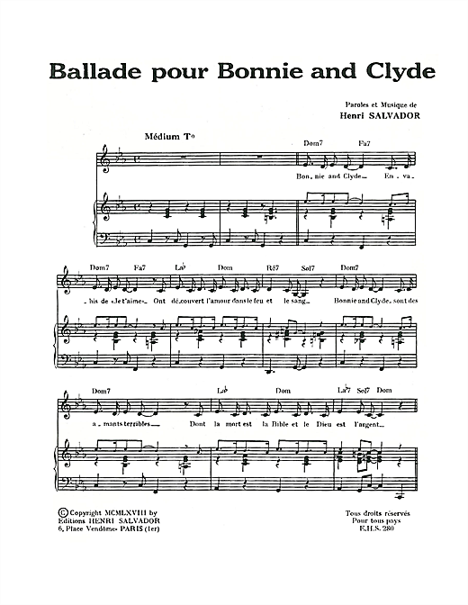 Ballade Pour Bonnie And Clyde Sheet Music