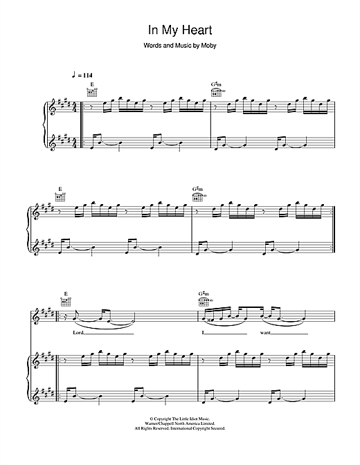In My Heart Sheet Music