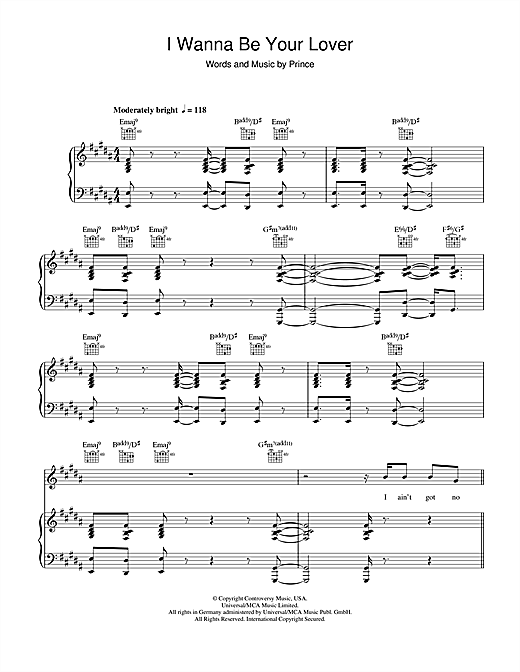 I Wanna Be Your Lover Sheet Music
