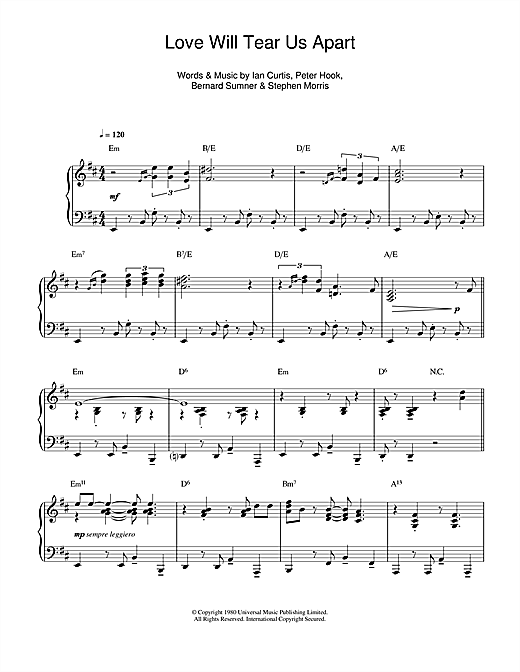 Love will tear us apart jazz version sheet music by joy for Piano diviso